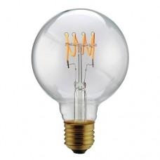 Λάμπα led filament edison γλόμπος φ95cm 5W ντιμαριζόμενη (dimmable) διάφανο γυαλί και σχέδιο Ε27 2200K θερμό λευκό φως ευρείας δέσμης 330° 300lumen 230V