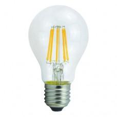 Λάμπα led filament edison κοινή αχλάδι 6W διάφανο γυαλί Ε27 θερμό λευκό φως 2700K A60 ευρείας δέσμης 360° 806lumen 230V