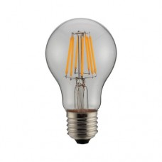 Λάμπα led filament edison κοινή αχλάδι 8W διάφανο γυαλί Ε27 ψυχρό λευκό φως 6500K A60 ευρείας δέσμης 360° 980lumen 230V
