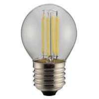 Λάμπα led filament edison σφαιρική (μπαλάκι) 4W ντιμαριζόμενη (dimmable) διάφανο γυαλί Ε27 6500K ψυχρό λευκό φως ευρείας δέσμης 360° 400lumen 230V