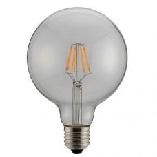 Λάμπα led filament edison γλόμπος (globe) Φ95 8W ντιμαριζόμενη (dimmable) διάφανο γυαλί Ε27 6500K ψυχρό λευκό φως ευρείας δέσμης 360° 980lumen 230V