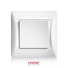 Διακόπτης χωνευτός μονός απλός λευκό χρώμα πολυτελείας σειρά lineme