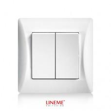 Διακόπτης χωνευτός διπλός (κομμιτατέρ) K/R λευκό χρώμα σειρά lineme