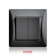 Διακόπτης χωνευτός διπλός (κομμιτατέρ) K/R μαύρο γραφίτης χρώμα σειρά lineme