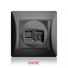 Πρίζα χωνευτή μονή τηλεφώνου RJ11 (ΟΤΕ) μαύρο γραφίτης χρώμα σειρά lineme