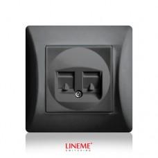 Πρίζα χωνευτή διπλή τηλεφώνου RJ11 (ΟΤΕ) μαύρο γραφίτης χρώμα σειρά lineme