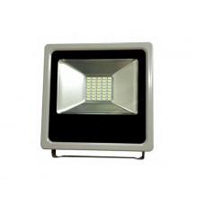 Προβολέας led 30w (30 watt) ενδιάμεσο λευκό φως 4000Κ αλουμινίου γκρί στεγανός IP65 3000lumen
