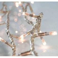 Χριστουγεννιάτικα 100 λαμπάκια (φωτάκια) ανά 5cm πυρακτώσεως λευκά με επέκταση σε σειρά και διάφανο καλώδιο 820cm